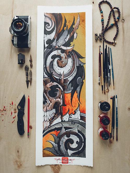 """Bio Skull"" original artwork 2020"