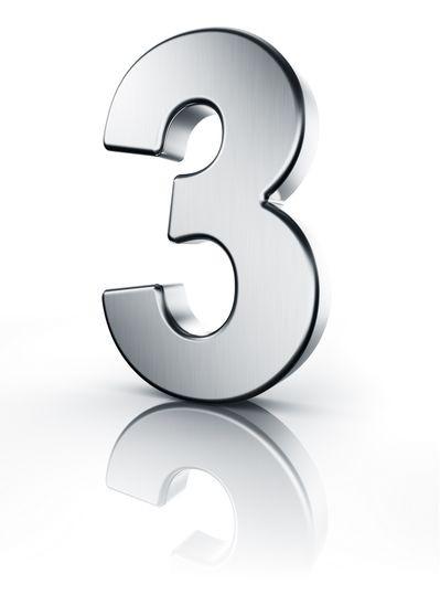 Drei Zahl 3D