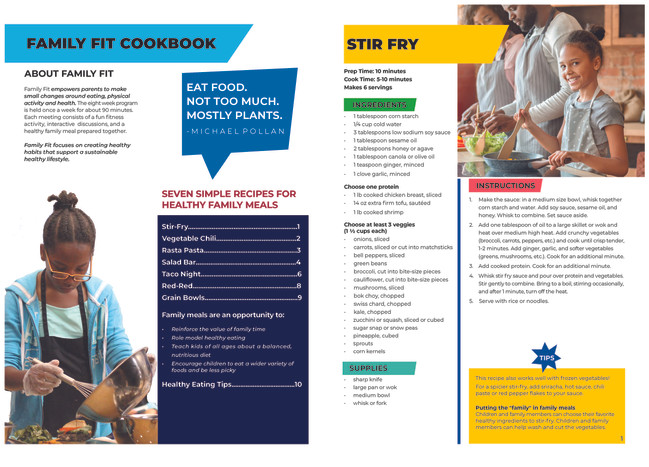 Harlem Children's Zone Cookbook Table of Contents