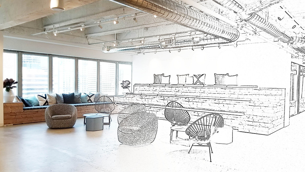 Sketch to reality. Office design