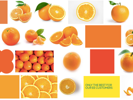 Something between yellow and orange