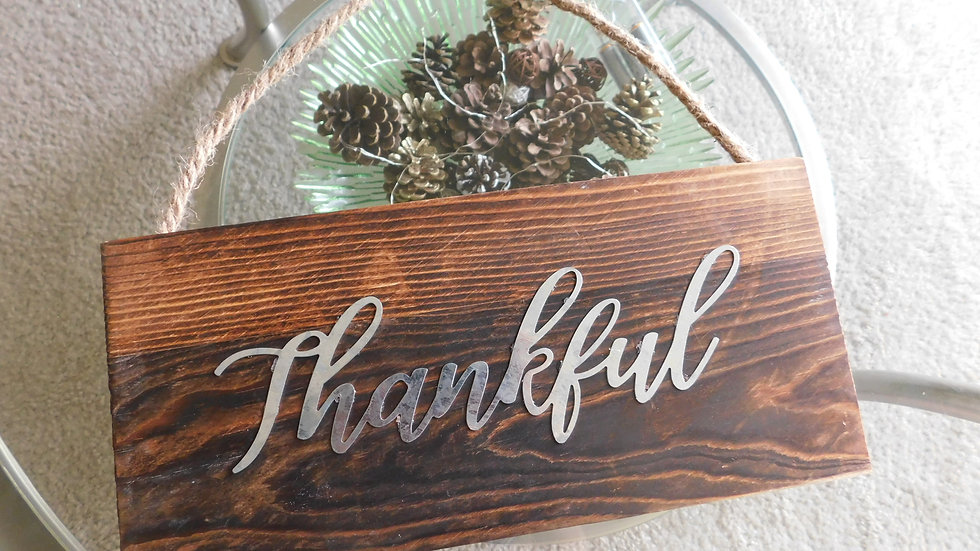"""Thankful Welcome Harvest"" Wooden Signs"