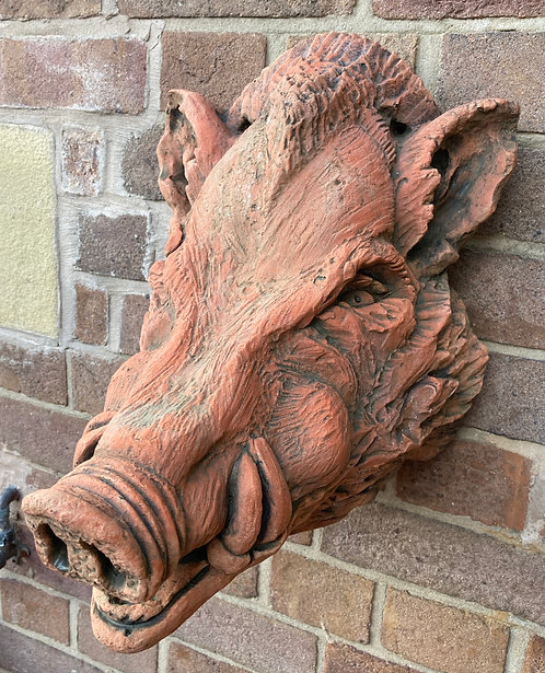 Superbly Modelled 3D Terracotta Stone Wall Sculpture Of A Wild Boar