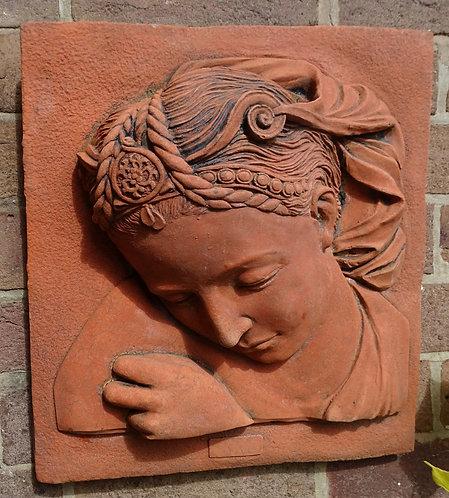 Superb Terracotta Stone Plaque Of Goddess Sophia High Relief
