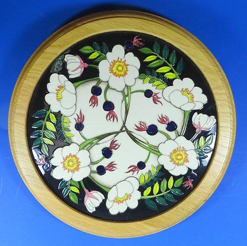 "MOORCROFT Pottery RHS Scotch Rose Nicola Slaney 12"" Round Plaque RRP £470"