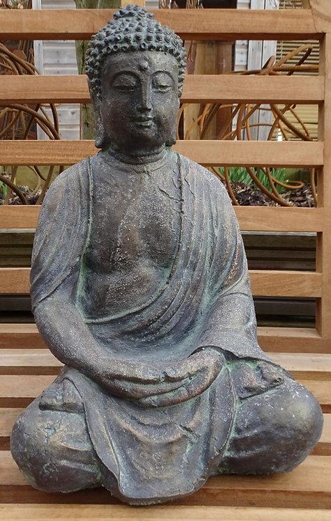 Superb Antique Bronze Finish Stone Thai Buddha Figure in Lotus Position