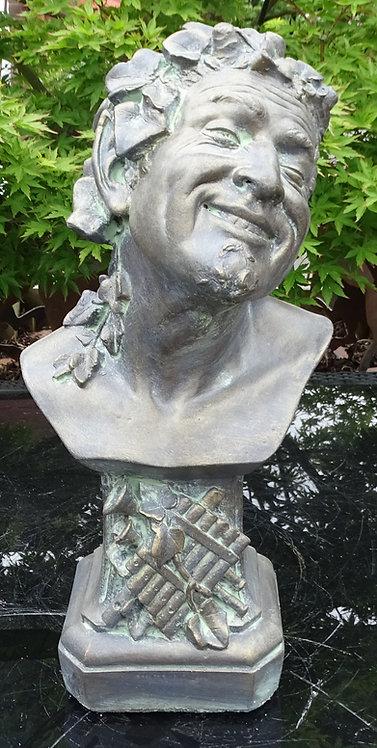 Bronzed Stone Large Bust Pan Sculpture Laughing Man Interior Design or Garden