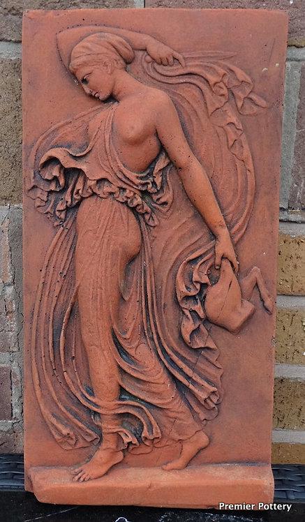 Classical Maiden Terracotta Stone 'Maenad' Wall Plaque