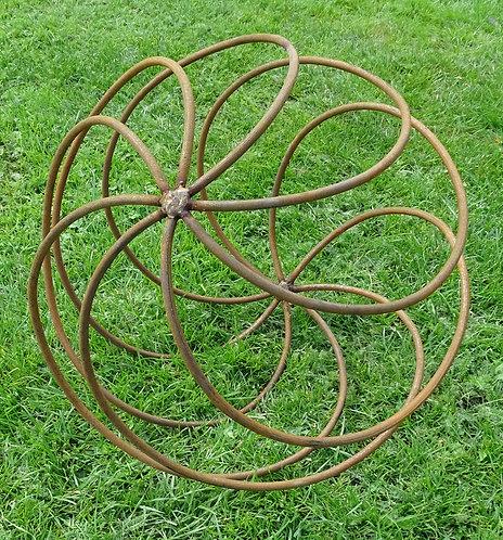 Large Hand Forged Iron Globe Ground Ball Swirl Orb Sculpture