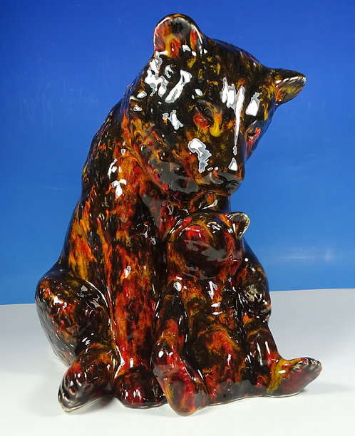 "Anita Harris Art Pottery Large Mother Bear & Cub Model 11"" Figure"