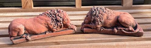 Superb Terracotta Stone Miniature Pair of Chatsworth Canova Lions