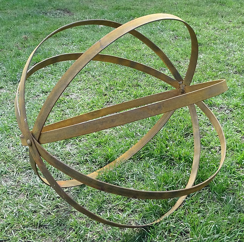 Hand Forged Iron Large Garden Flat Strap Banded Orb Ball Structure