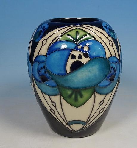 "MOORCROFT Rennie Rose Blue Mackintosh Rachel Bishop 102/3 3.5"" Vase RRP £235"