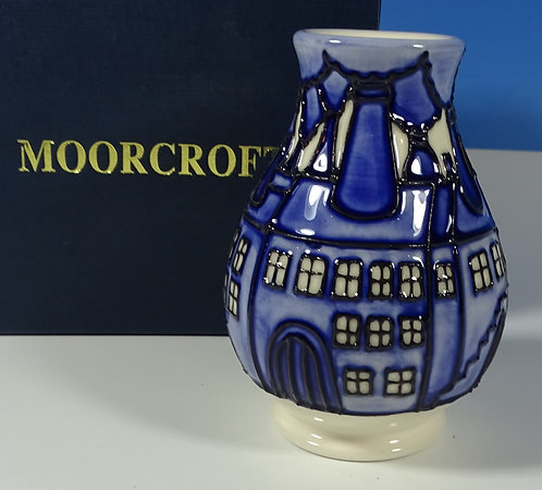 "MOORCROFT Bottle Oven Legacy 7/3 Blue & White 3.75"" Vase RRP £180 1st Boxed"