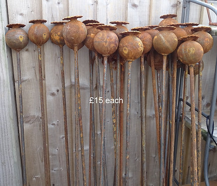 Stylish Poppy Flower Seed Head on Stand Tall Sculpture Antique Effect 160cm