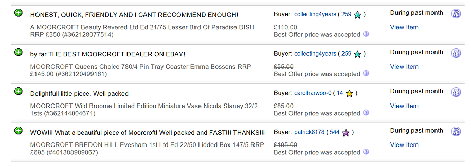 Direct Feedback from our eBay customers