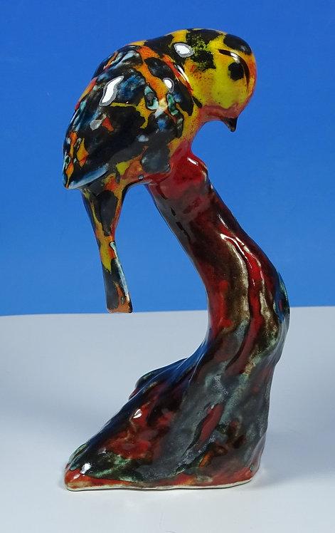 Anita Harris Art Pottery Stylised Trial Colourway Blue Tit Bird Model Figure