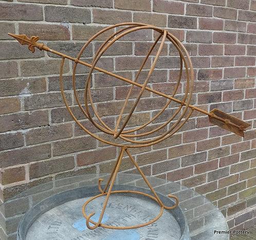 Hand Forged Iron Armillary Globe Garden Structure Sculpture Interior Design or G