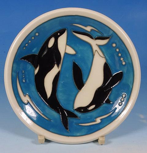 "MOORCROFT Orca Whales 780/4 California Dreaming 4.75"" Pin Tray Coaster RRP £90"