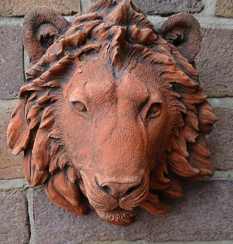 Superbly Detailed Terracotta Stone Lion Head Model Wall Plaque