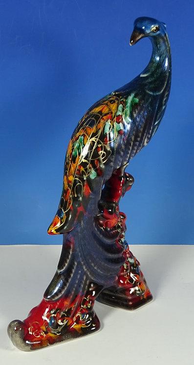 Anita Harris Art Pottery Lustre Blue Green Peacock Bird Gold Feather Figure