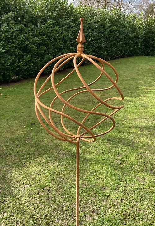 Heavy Hand Forged Iron Antique Swirl Orb on Stake Stand 165cm Garden Sculpture