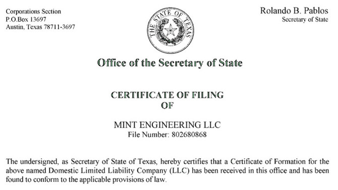 Mint Engineering, LLC is official! Woot woot!