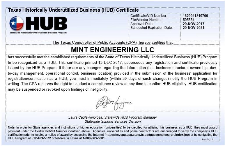 Mint Engineering is a certified HUB MEP engineering firm in Texas