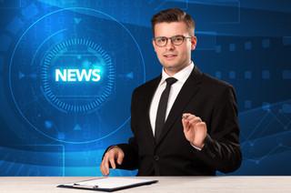 Modern televison presenter telling the n