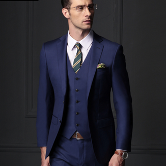 Navy blue three-piece suit