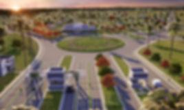 projeto paisagismo loteament com rotatória entrada