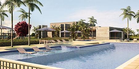 projeto paisagismo loteamento residencial piscina e deck molhado