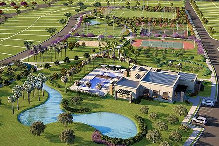 projeto paisagismo loteamento vista aérea lago e quadras área lazer