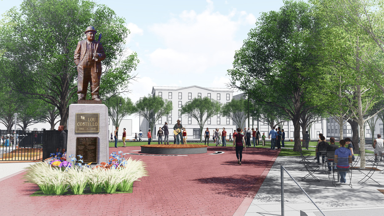 Entrance and Lou Costello statue