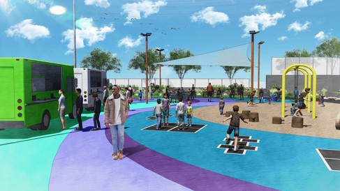 Flexible court and space for food trucks