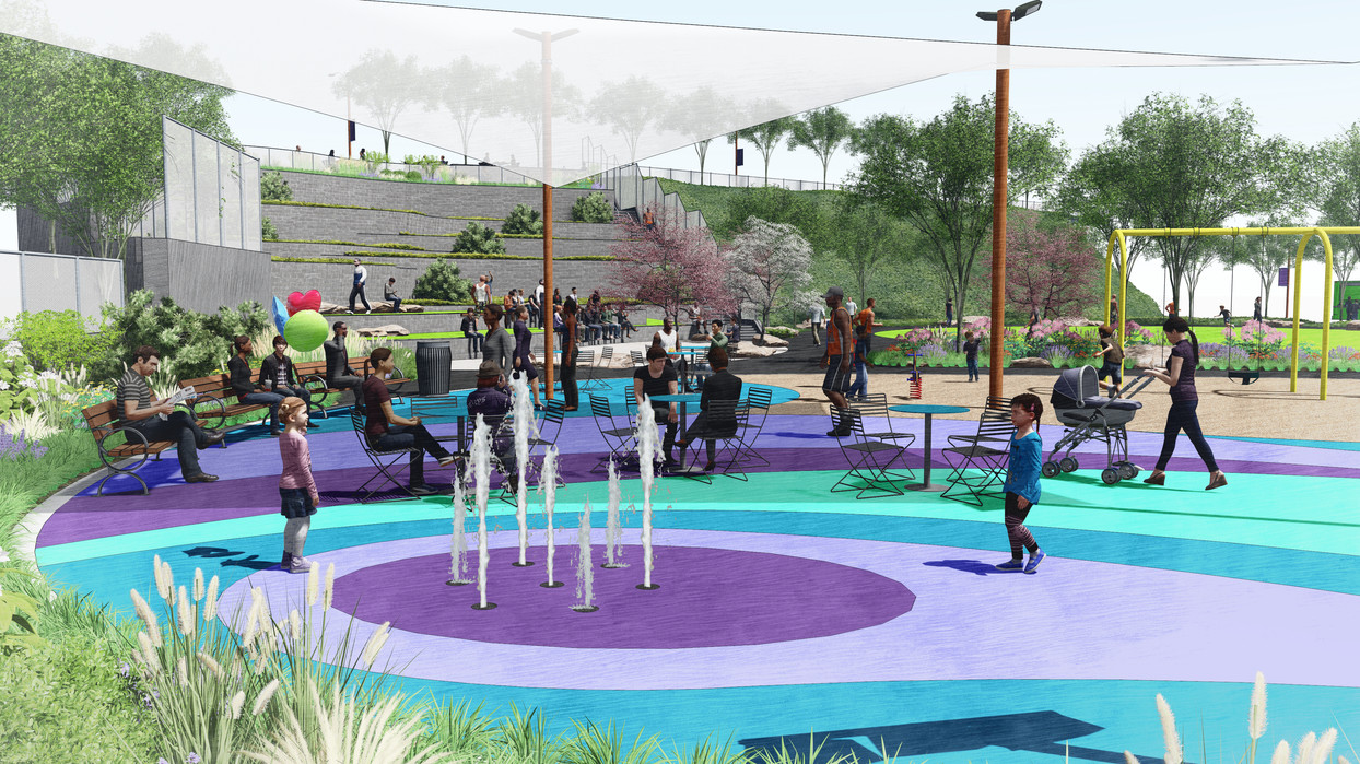 Flexible court with interactive water feature