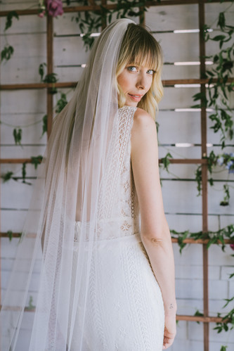6e08ef3cc6b95 solid cathedral tulle veil by Brooklyn Wedding Dress bridal designer  Loulette Bride, ...