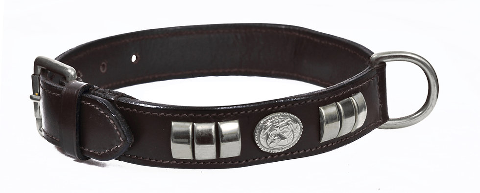 STAFFY LEATHER DOG COLLAR DOG FACE CHROME FITTING
