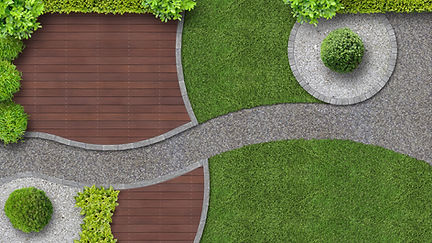 Unique garden landscaping with decking, grass and pathways