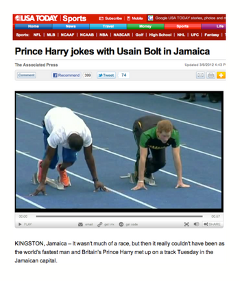 Prince Harry jokes with Usain Bolt in Jamaica
