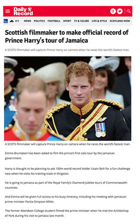 Scottish film-maker to make official record of Prince Harry's tour of Jamaica