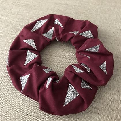 Chouchou en tissus - Collection Paillettes - Bordeaux/Argenté