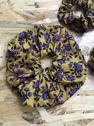 Chouchou en tissus - Fleuries Jaune/violet