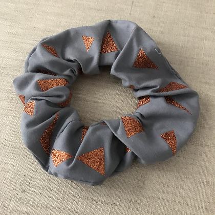 Chouchou en tissus - Collection Paillettes - Gris/Cuivré