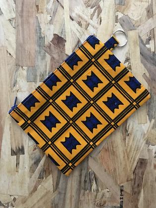 Pochette Porte clé - Wax Jaune/bleu