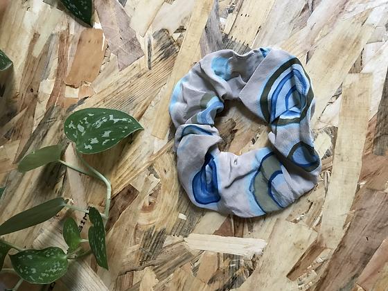 Chouchou en tissus - Récup tissus seventies bleu