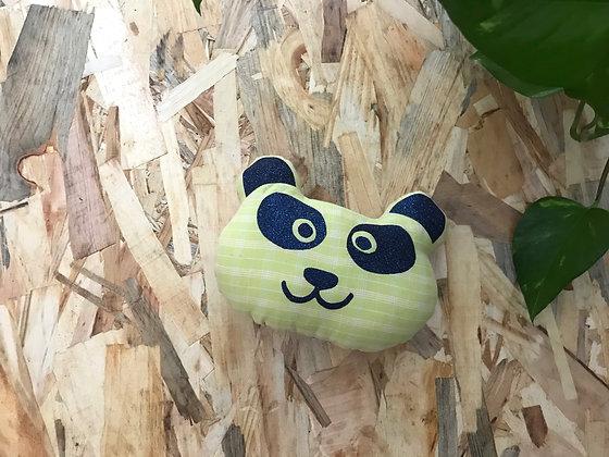 Doudou Panda - carreaux vert clair / bleu nuit