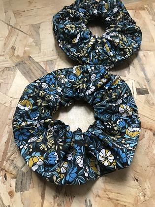 Chouchou en tissus - Fleuries bleu/jaune