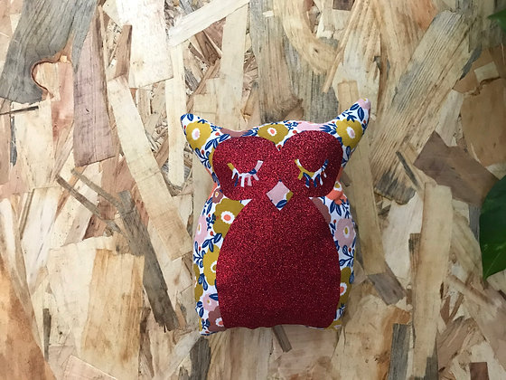 Doudou Hibou - fleurie / rouge