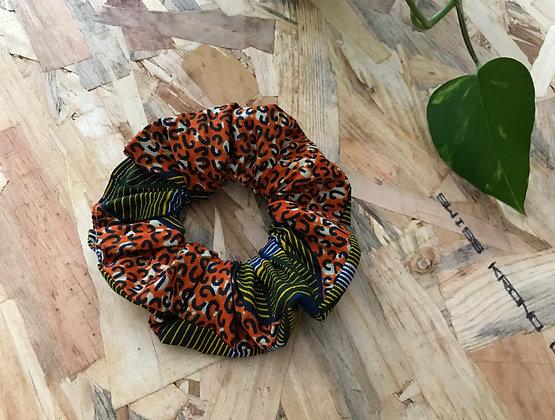 Chouchou en tissus - Wax Orange/vert